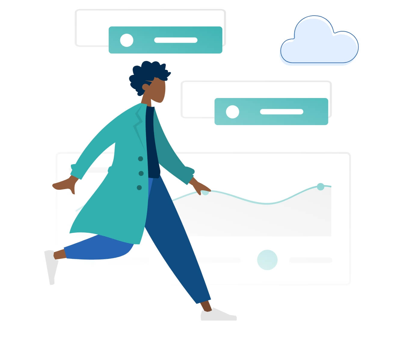 A woman using some cloud technology